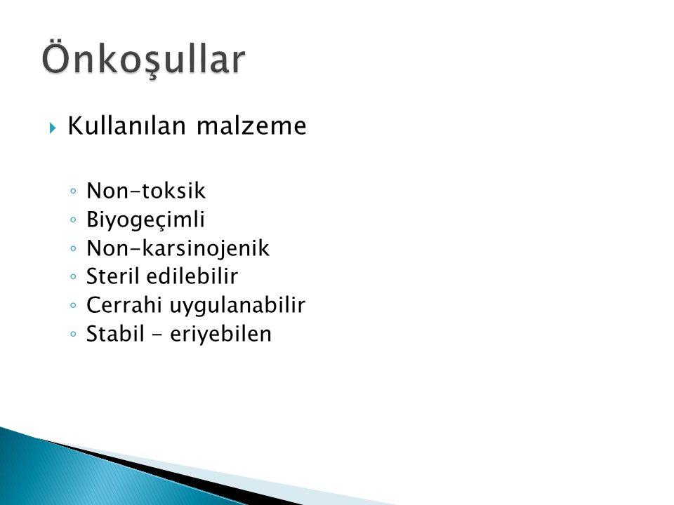  Kullanılan malzeme ◦ Non-toksik ◦ Biyogeçimli ◦ Non-karsinojenik ◦ Steril edilebilir ◦ Cerrahi uygulanabilir ◦ Stabil - eriyebilen