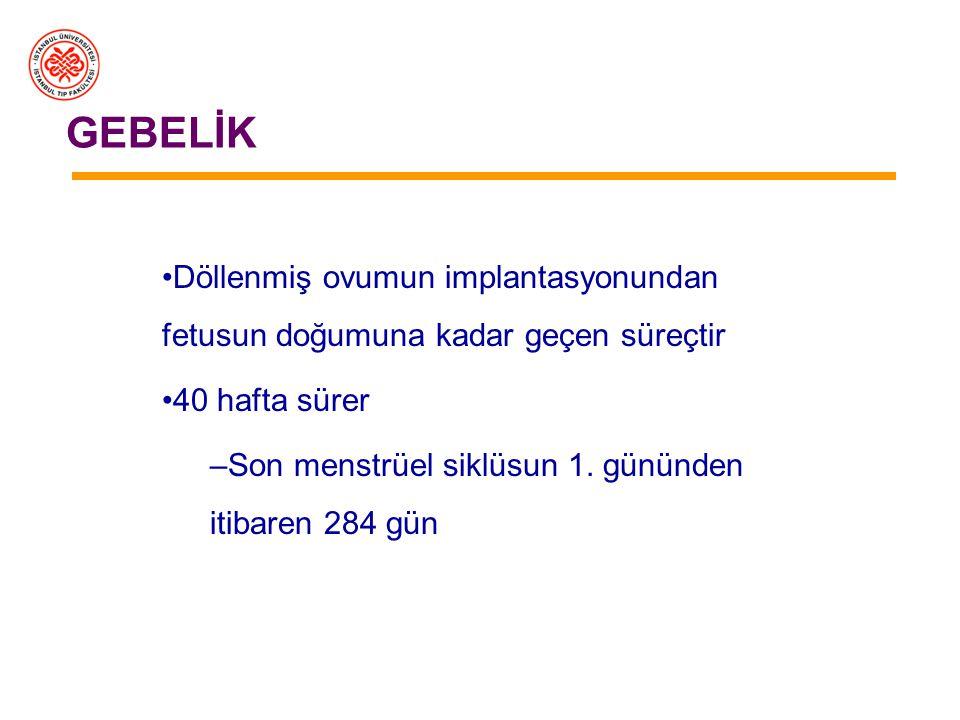 GEBELİK –Ovumun fallop tüpüne alınması – Döllenme - İmplantasyon –Plasenta ve işlevleri –plasenta hormonları –Östrojen, progesteron ve gebelik –Gebeli