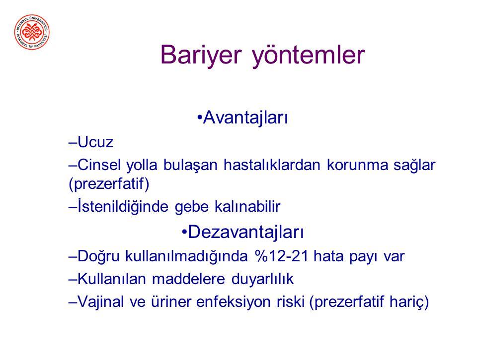 Bariyer yöntemler 1.Prezervatif (erkek ve kadın) 2.Spermisid fitiller (kadın) 3.Diyafram (kadın)