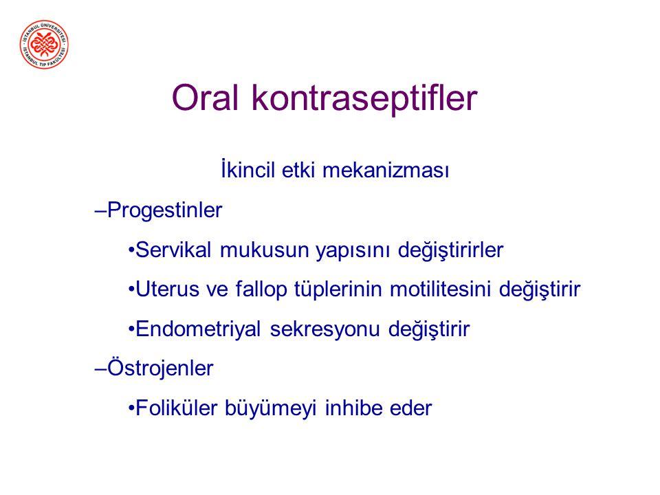Oral kontraseptifler Birincil etki mekanizması GnRH salgısını ve ovulasyonu önlerler