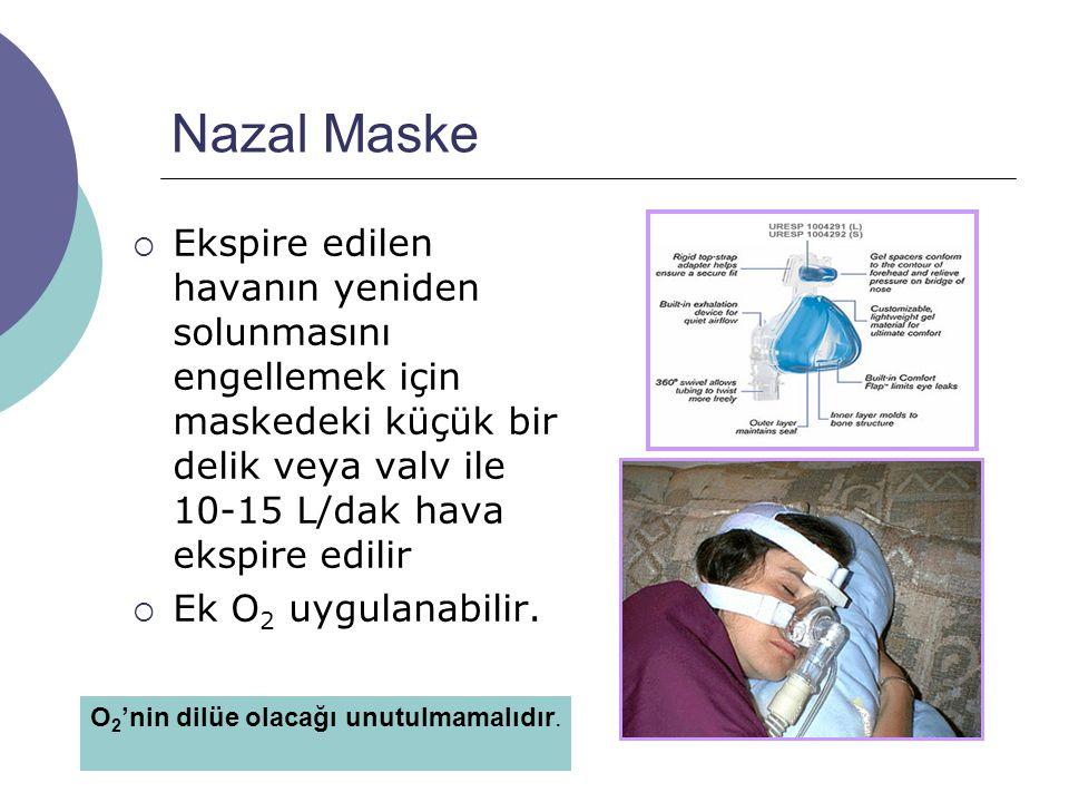 Nazal Maske  Ekspire edilen havanın yeniden solunmasını engellemek için maskedeki küçük bir delik veya valv ile 10-15 L/dak hava ekspire edilir  Ek O 2 uygulanabilir.