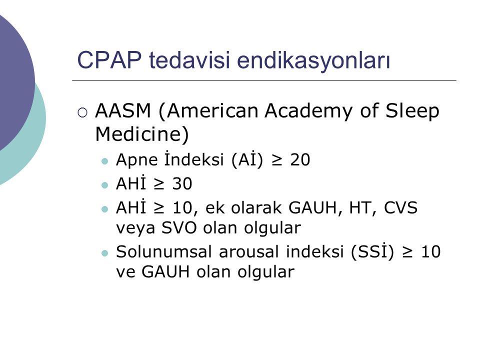 CPAP tedavisi endikasyonları  AASM (American Academy of Sleep Medicine) Apne İndeksi (Aİ) ≥ 20 AHİ ≥ 30 AHİ ≥ 10, ek olarak GAUH, HT, CVS veya SVO olan olgular Solunumsal arousal indeksi (SSİ) ≥ 10 ve GAUH olan olgular