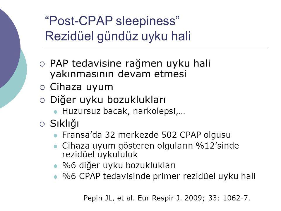 Post-CPAP sleepiness Rezidüel gündüz uyku hali  PAP tedavisine rağmen uyku hali yakınmasının devam etmesi  Cihaza uyum  Diğer uyku bozuklukları Huzursuz bacak, narkolepsi,…  Sıklığı Fransa'da 32 merkezde 502 CPAP olgusu Cihaza uyum gösteren olguların %12'sinde rezidüel uykululuk %6 diğer uyku bozuklukları %6 CPAP tedavisinde primer rezidüel uyku hali Pepin JL, et al.