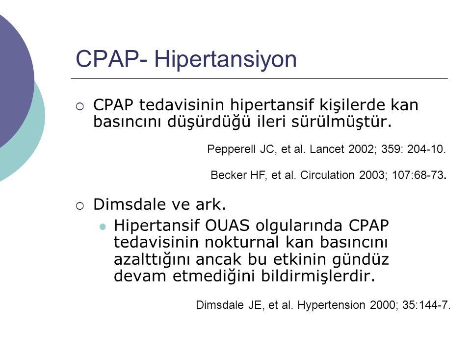CPAP- Hipertansiyon  CPAP tedavisinin hipertansif kişilerde kan basıncını düşürdüğü ileri sürülmüştür.