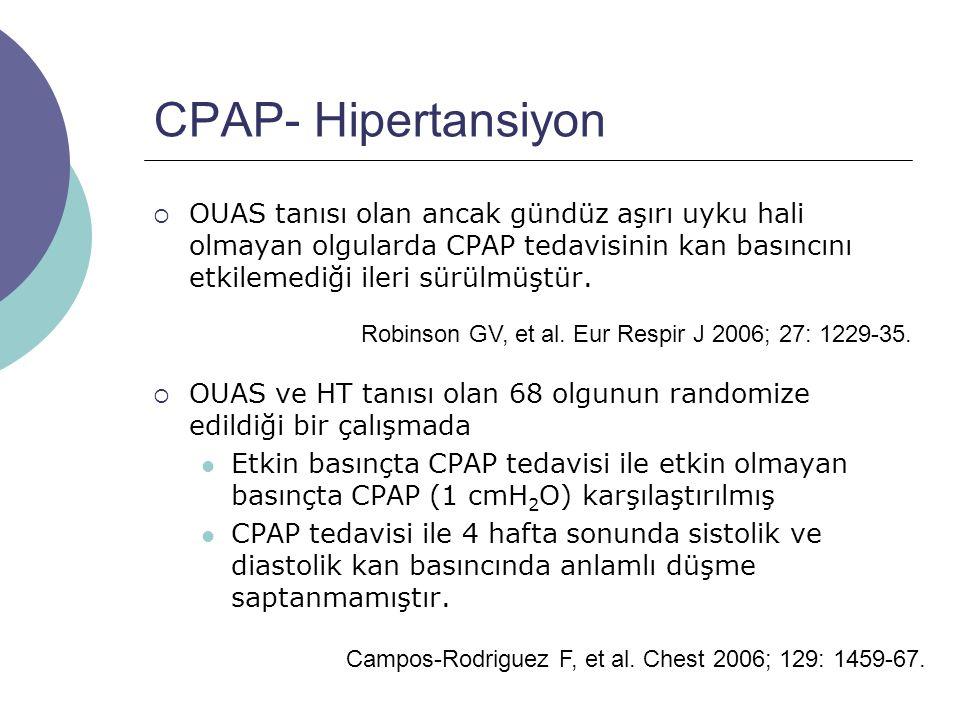 CPAP- Hipertansiyon  OUAS tanısı olan ancak gündüz aşırı uyku hali olmayan olgularda CPAP tedavisinin kan basıncını etkilemediği ileri sürülmüştür.