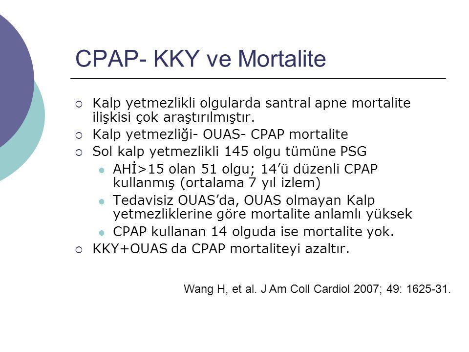 CPAP- KKY ve Mortalite  Kalp yetmezlikli olgularda santral apne mortalite ilişkisi çok araştırılmıştır.