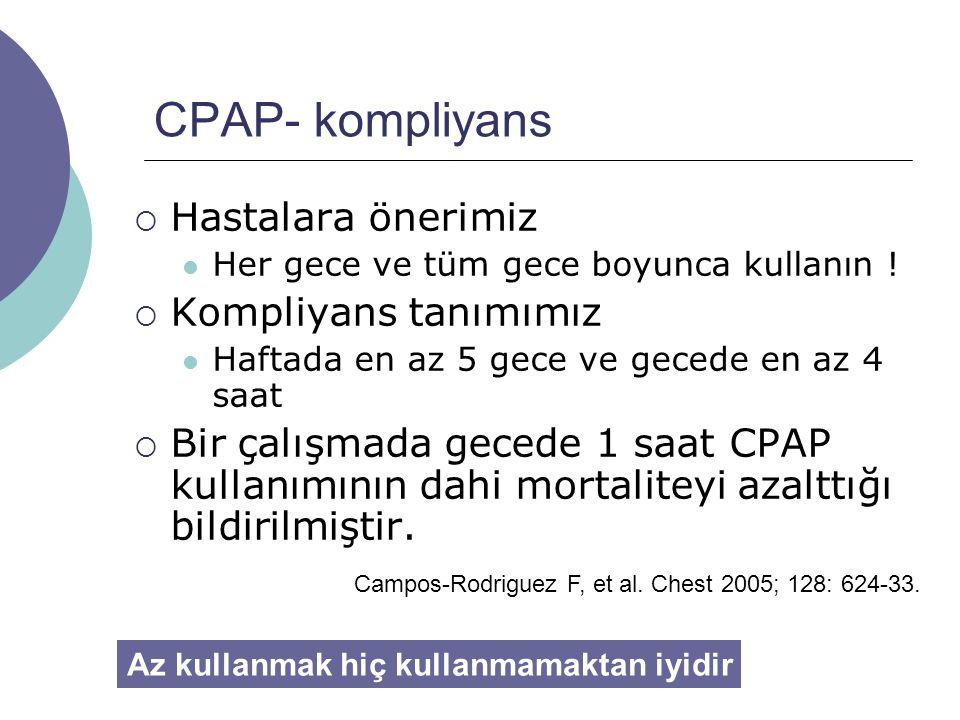 CPAP- kompliyans  Hastalara önerimiz Her gece ve tüm gece boyunca kullanın .