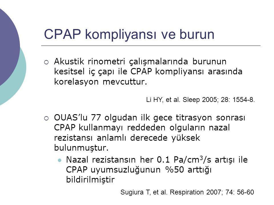 CPAP kompliyansı ve burun  Akustik rinometri çalışmalarında burunun kesitsel iç çapı ile CPAP kompliyansı arasında korelasyon mevcuttur.
