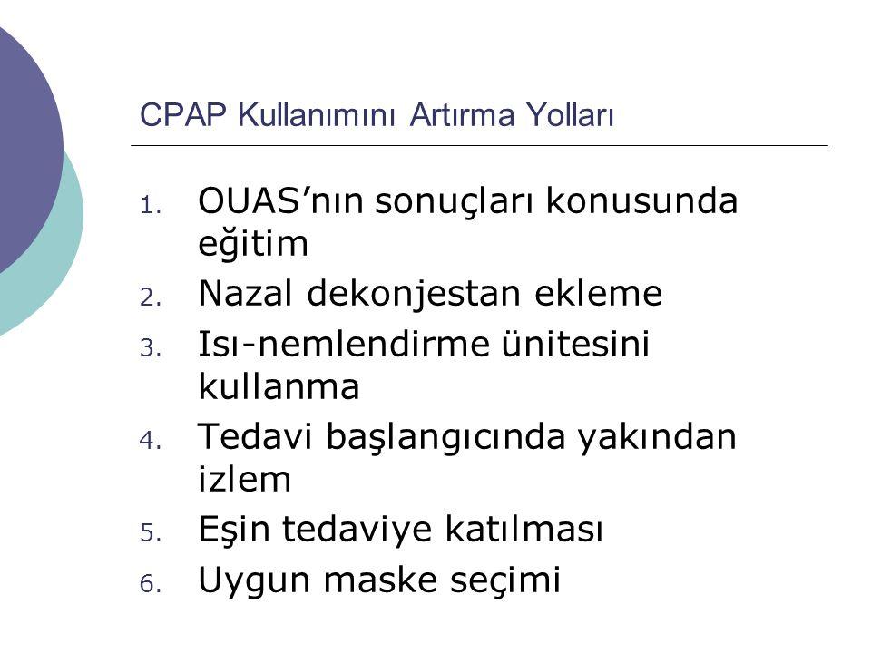 CPAP Kullanımını Artırma Yolları 1.OUAS'nın sonuçları konusunda eğitim 2.