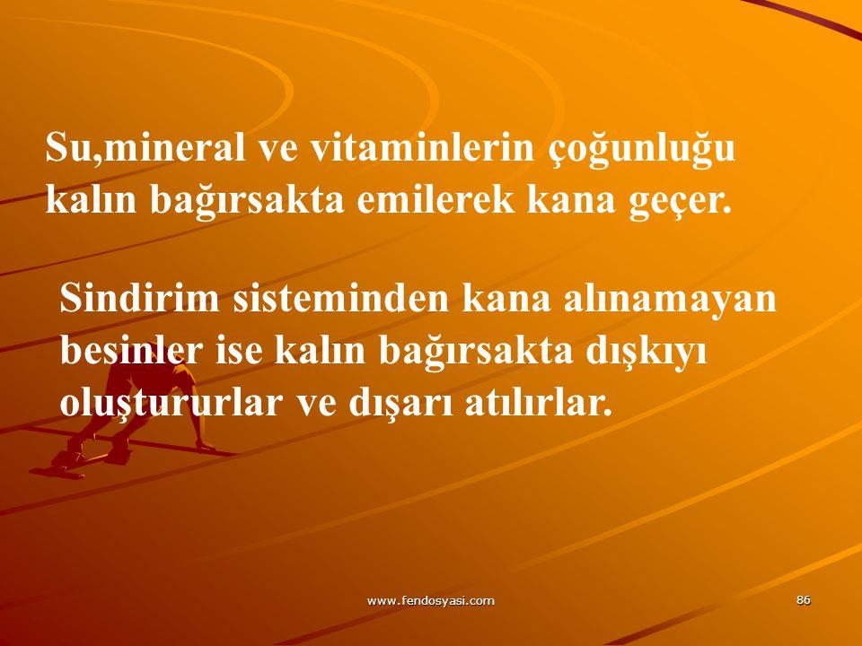 www.fendosyasi.com 86 Su,mineral ve vitaminlerin çoğunluğu kalın bağırsakta emilerek kana geçer. Sindirim sisteminden kana alınamayan besinler ise kal