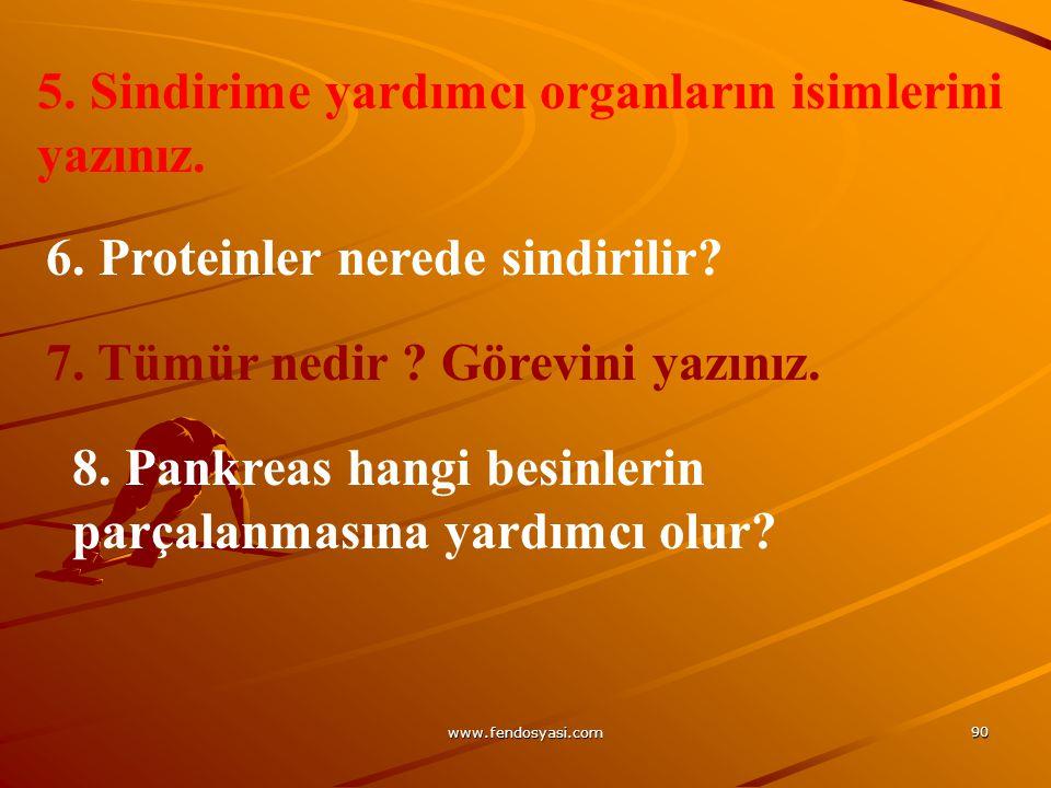 www.fendosyasi.com 90 5. Sindirime yardımcı organların isimlerini yazınız. 6. Proteinler nerede sindirilir? 7. Tümür nedir ? Görevini yazınız. 8. Pank