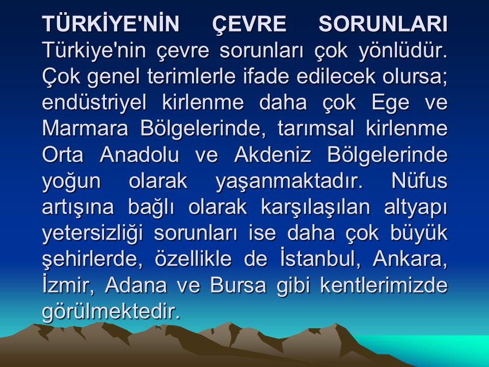 Akarsu kirliliği yoğun bir biçimde Ege ve Marmara Bölgelerinde, deniz kirliliği Marmara Denizinde çok yoğun olmak üzere Ege, Marmara ve Karadeniz de, hava kirliliği ise İstanbul, Eskişehir, Erzurum gibi yerleşim yoğunluğu yüksek kentlerde görülmektedir.