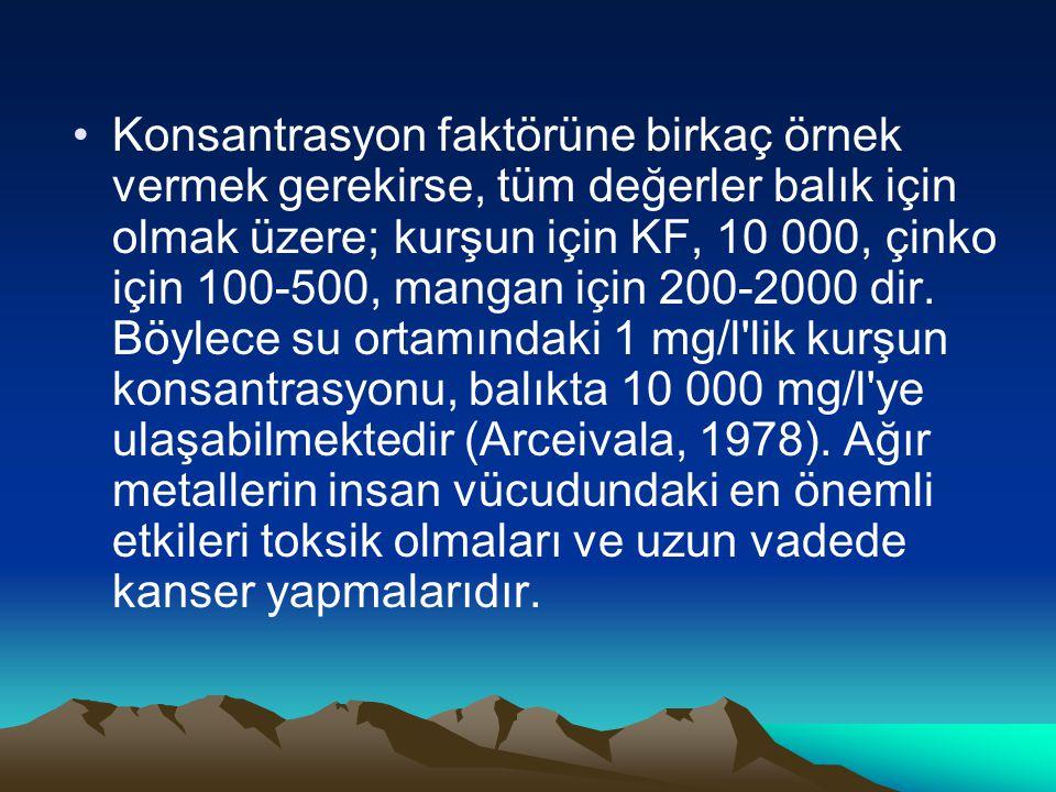 Konsantrasyon faktörüne birkaç örnek vermek gerekirse, tüm değerler balık için olmak üzere; kurşun için KF, 10 000, çinko için 100-500, mangan için 200-2000 dir.