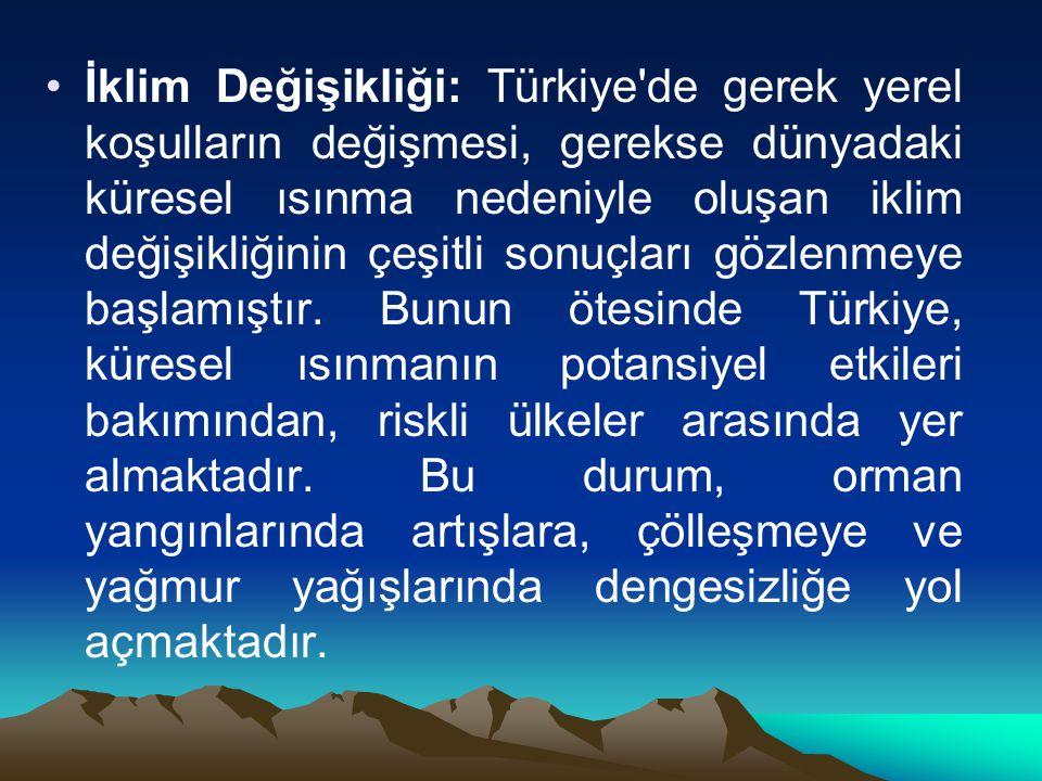 İklim Değişikliği: Türkiye de gerek yerel koşulların değişmesi, gerekse dünyadaki küresel ısınma nedeniyle oluşan iklim değişikliğinin çeşitli sonuçları gözlenmeye başlamıştır.