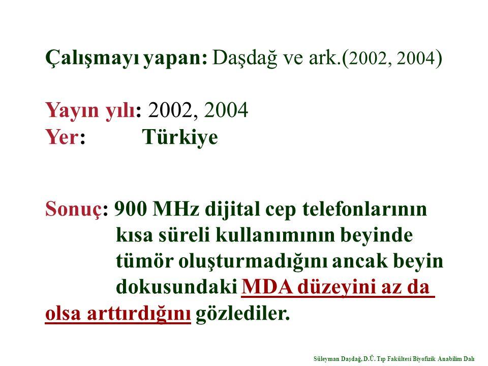 Çalışmayı yapan: Daşdağ ve ark.( 2002, 2004 ) Yayın yılı: 2002, 2004 Yer: Türkiye Sonuç: 900 MHz dijital cep telefonlarının kısa süreli kullanımının beyinde tümör oluşturmadığını ancak beyin dokusundaki MDA düzeyini az da olsa arttırdığını gözlediler.