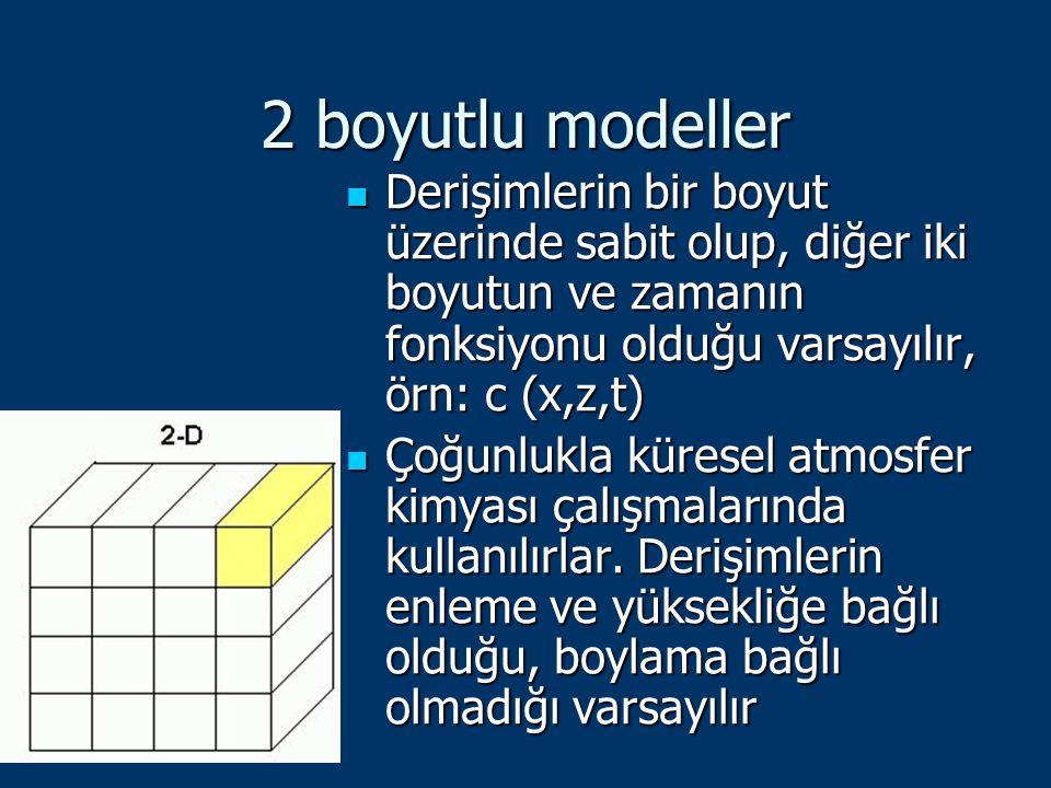 2 boyutlu modeller Derişimlerin bir boyut üzerinde sabit olup, diğer iki boyutun ve zamanın fonksiyonu olduğu varsayılır, örn: c (x,z,t) Derişimlerin