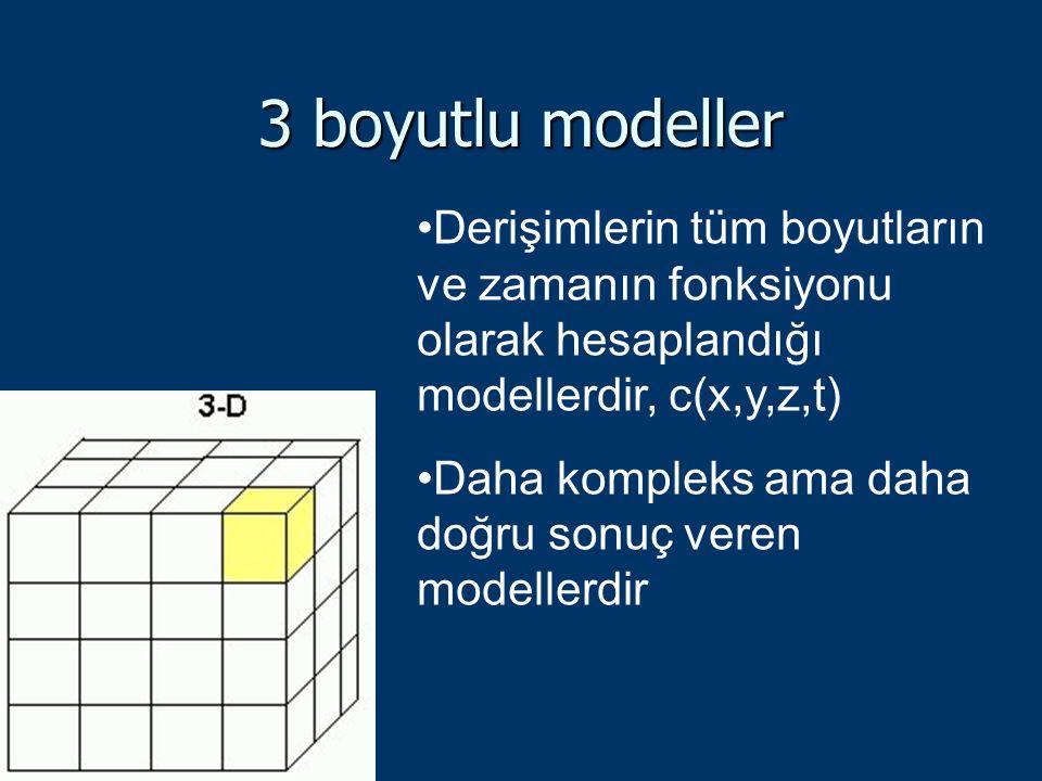 3 boyutlu modeller Derişimlerin tüm boyutların ve zamanın fonksiyonu olarak hesaplandığı modellerdir, c(x,y,z,t) Daha kompleks ama daha doğru sonuç ve