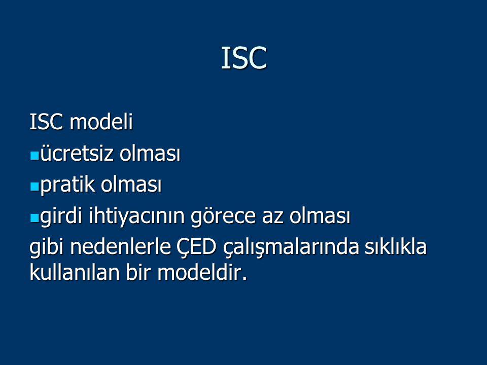 ISC ISC modeli ücretsiz olması ücretsiz olması pratik olması pratik olması girdi ihtiyacının görece az olması girdi ihtiyacının görece az olması gibi