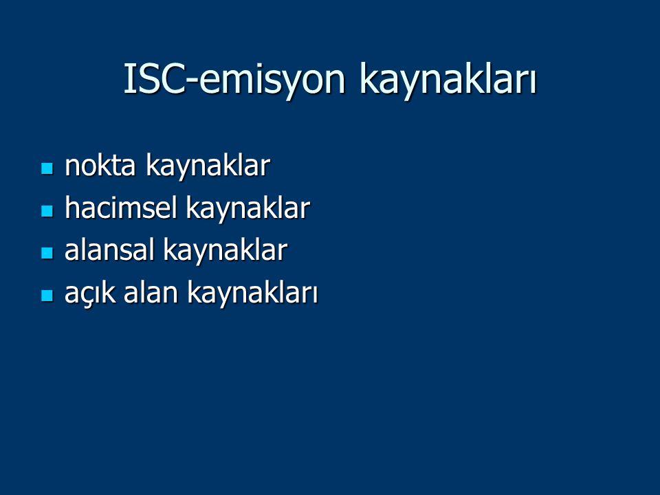 ISC-emisyon kaynakları nokta kaynaklar nokta kaynaklar hacimsel kaynaklar hacimsel kaynaklar alansal kaynaklar alansal kaynaklar açık alan kaynakları