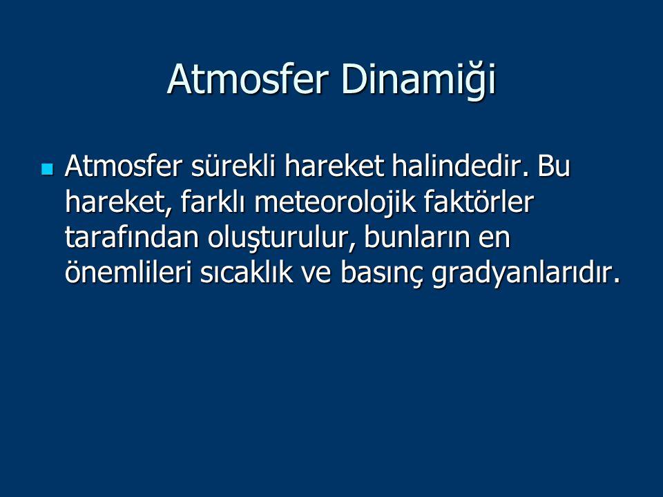 Atmosfer Dinamiği Atmosfer sürekli hareket halindedir. Bu hareket, farklı meteorolojik faktörler tarafından oluşturulur, bunların en önemlileri sıcakl