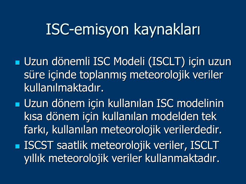 ISC-emisyon kaynakları Uzun dönemli ISC Modeli (ISCLT) için uzun süre içinde toplanmış meteorolojik veriler kullanılmaktadır. Uzun dönemli ISC Modeli