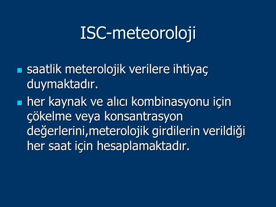 ISC-meteoroloji saatlik meterolojik verilere ihtiyaç duymaktadır. saatlik meterolojik verilere ihtiyaç duymaktadır. her kaynak ve alıcı kombinasyonu i