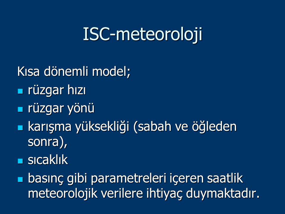 ISC-meteoroloji Kısa dönemli model; rüzgar hızı rüzgar hızı rüzgar yönü rüzgar yönü karışma yüksekliği (sabah ve öğleden sonra), karışma yüksekliği (s