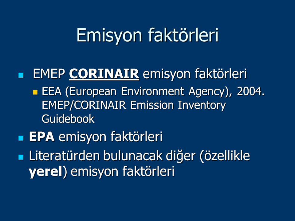 Emisyon faktörleri EMEP CORINAIR emisyon faktörleri EMEP CORINAIR emisyon faktörleri EEA (European Environment Agency), 2004. EMEP/CORINAIR Emission I