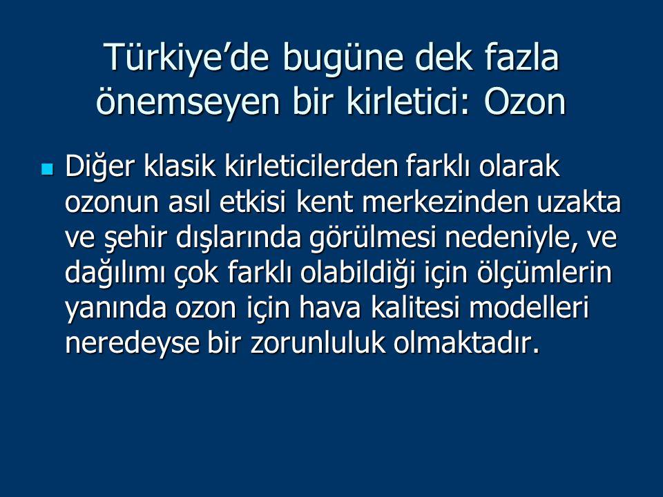 Türkiye'de bugüne dek fazla önemseyen bir kirletici: Ozon Diğer klasik kirleticilerden farklı olarak ozonun asıl etkisi kent merkezinden uzakta ve şeh