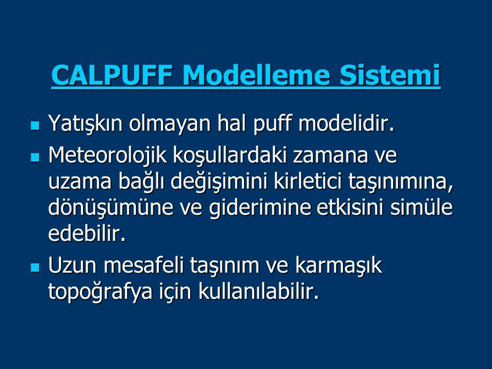 CALPUFF Modelleme Sistemi CALPUFF Modelleme Sistemi Yatışkın olmayan hal puff modelidir. Yatışkın olmayan hal puff modelidir. Meteorolojik koşullardak