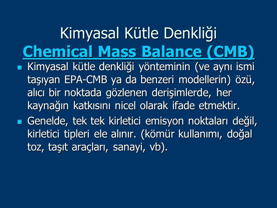 Kimyasal Kütle Denkliği Chemical Mass Balance (CMB) Chemical Mass Balance (CMB) Chemical Mass Balance (CMB) Kimyasal kütle denkliği yönteminin (ve ayn
