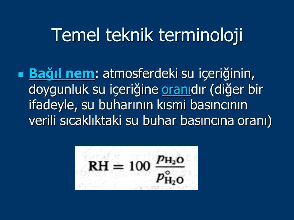 Temel teknik terminoloji Bağıl nem: atmosferdeki su içeriğinin, doygunluk su içeriğine oranıdır (diğer bir ifadeyle, su buharının kısmi basıncının ver