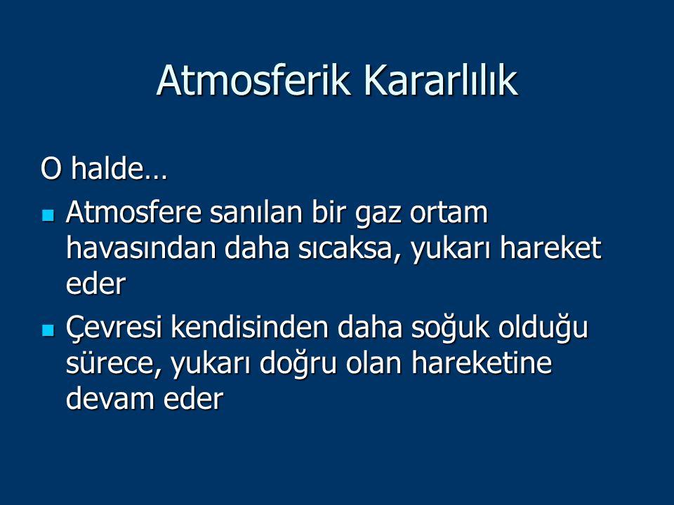 Atmosferik Kararlılık O halde… Atmosfere sanılan bir gaz ortam havasından daha sıcaksa, yukarı hareket eder Atmosfere sanılan bir gaz ortam havasından
