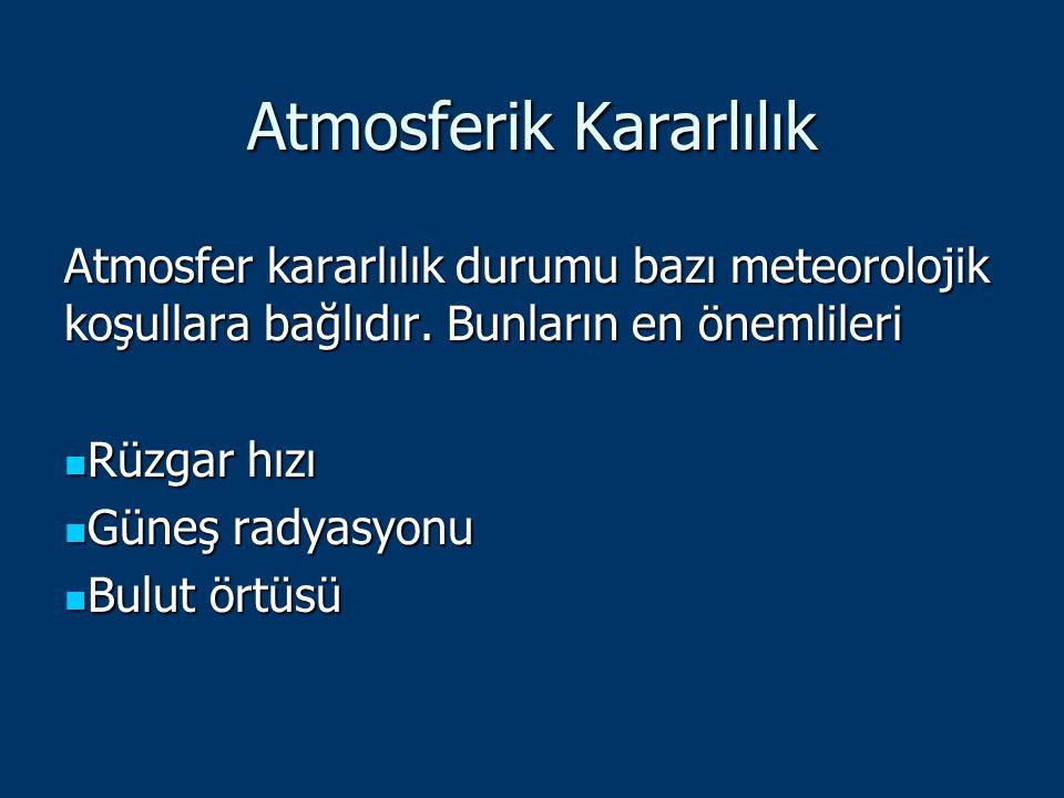 Atmosferik Kararlılık Atmosfer kararlılık durumu bazı meteorolojik koşullara bağlıdır. Bunların en önemlileri Rüzgar hızı Rüzgar hızı Güneş radyasyonu
