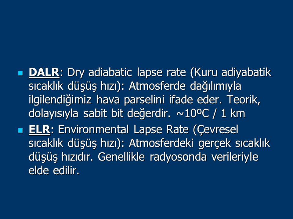 DALR: Dry adiabatic lapse rate (Kuru adiyabatik sıcaklık düşüş hızı): Atmosferde dağılımıyla ilgilendiğimiz hava parselini ifade eder. Teorik, dolayıs