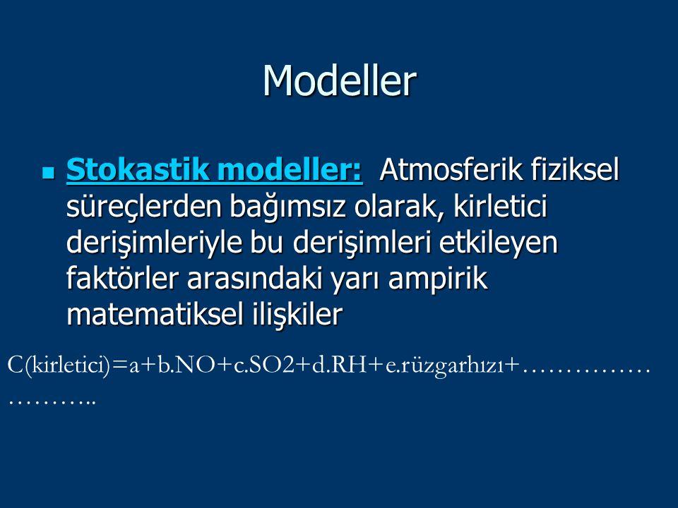 Modeller Stokastik modeller: Atmosferik fiziksel süreçlerden bağımsız olarak, kirletici derişimleriyle bu derişimleri etkileyen faktörler arasındaki y