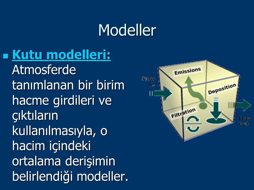 Modeller Kutu modelleri: Atmosferde tanımlanan bir birim hacme girdileri ve çıktıların kullanılmasıyla, o hacim içindeki ortalama derişimin belirlendi