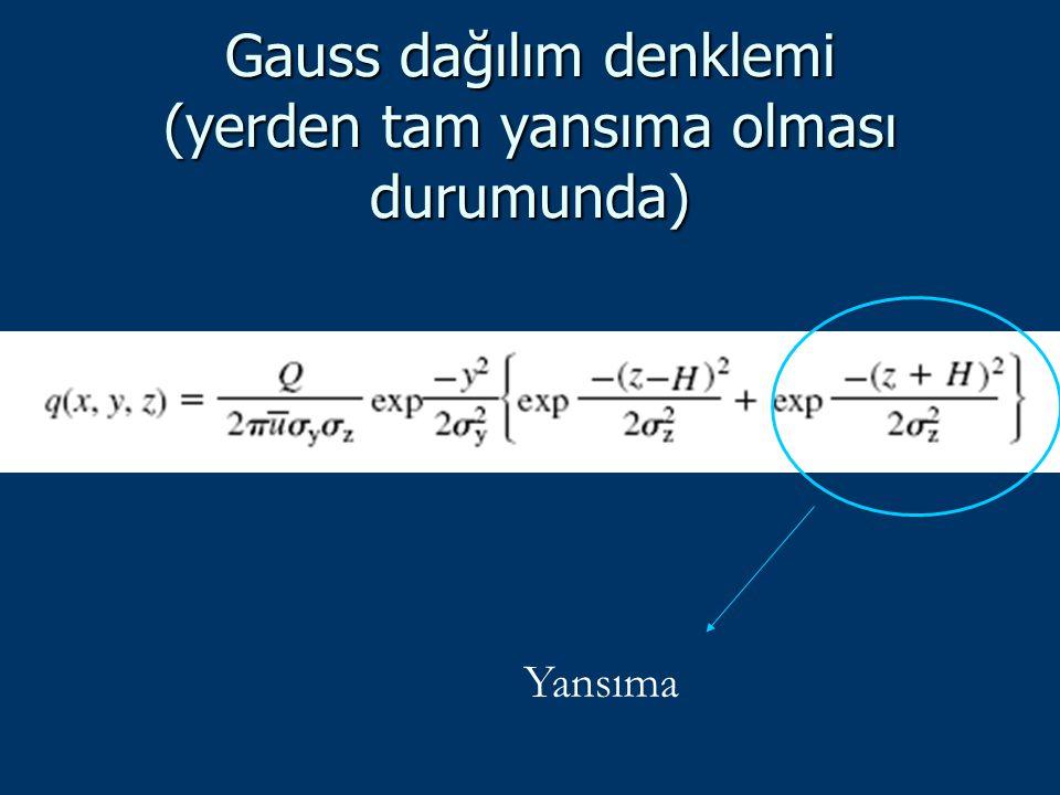 Gauss dağılım denklemi (yerden tam yansıma olması durumunda) Yansıma