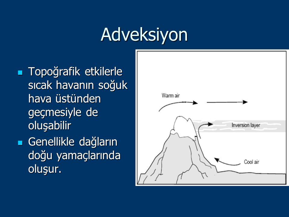 Adveksiyon Topoğrafik etkilerle sıcak havanın soğuk hava üstünden geçmesiyle de oluşabilir Topoğrafik etkilerle sıcak havanın soğuk hava üstünden geçm