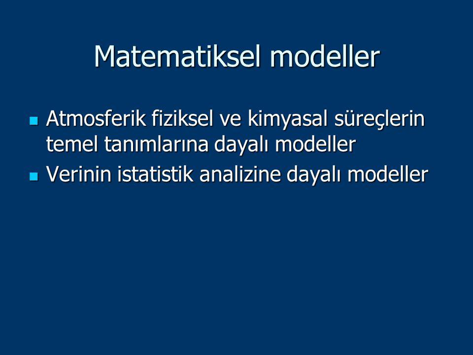 Matematiksel modeller Atmosferik fiziksel ve kimyasal süreçlerin temel tanımlarına dayalı modeller Atmosferik fiziksel ve kimyasal süreçlerin temel ta