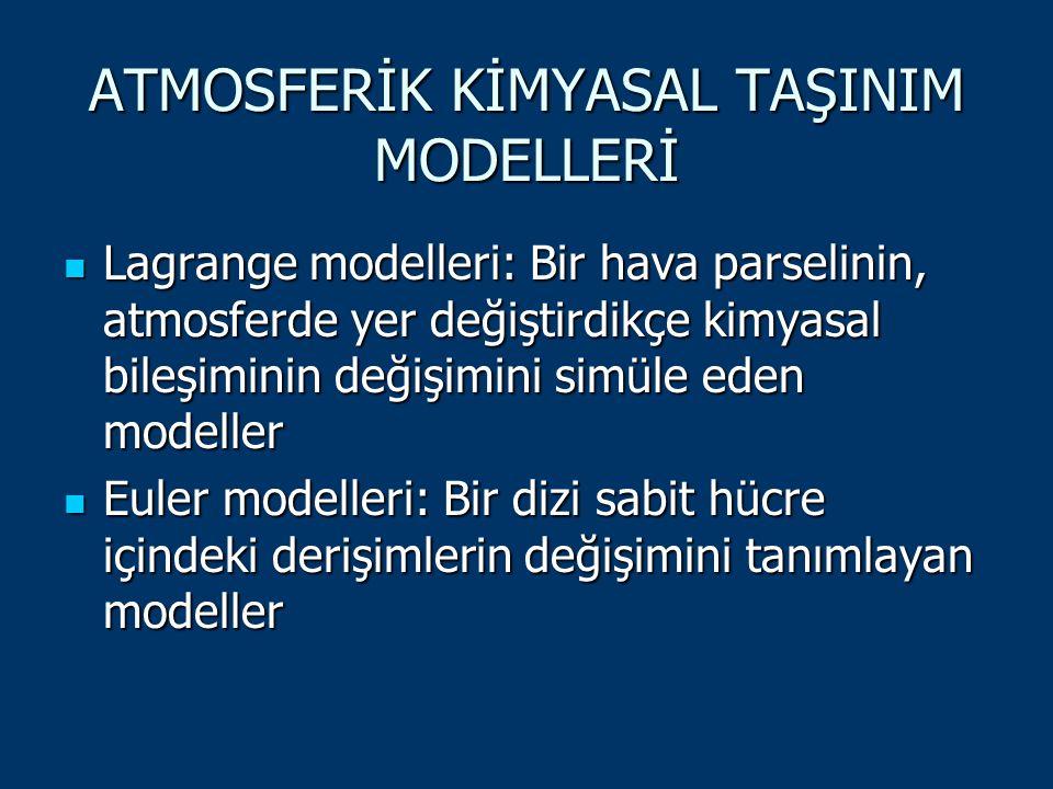 ATMOSFERİK KİMYASAL TAŞINIM MODELLERİ Lagrange modelleri: Bir hava parselinin, atmosferde yer değiştirdikçe kimyasal bileşiminin değişimini simüle ede