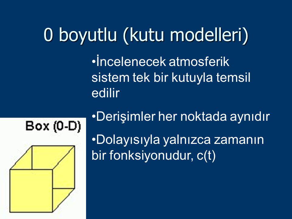 0 boyutlu (kutu modelleri) İncelenecek atmosferik sistem tek bir kutuyla temsil edilir Derişimler her noktada aynıdır Dolayısıyla yalnızca zamanın bir