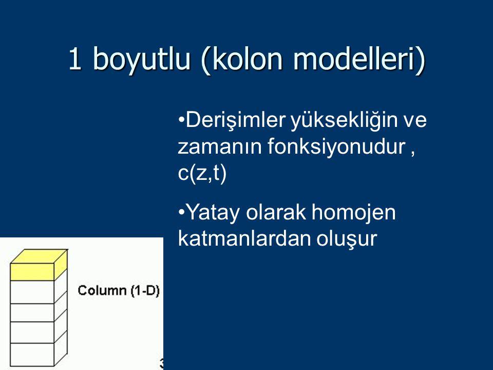 1 boyutlu (kolon modelleri) Derişimler yüksekliğin ve zamanın fonksiyonudur, c(z,t) Yatay olarak homojen katmanlardan oluşur