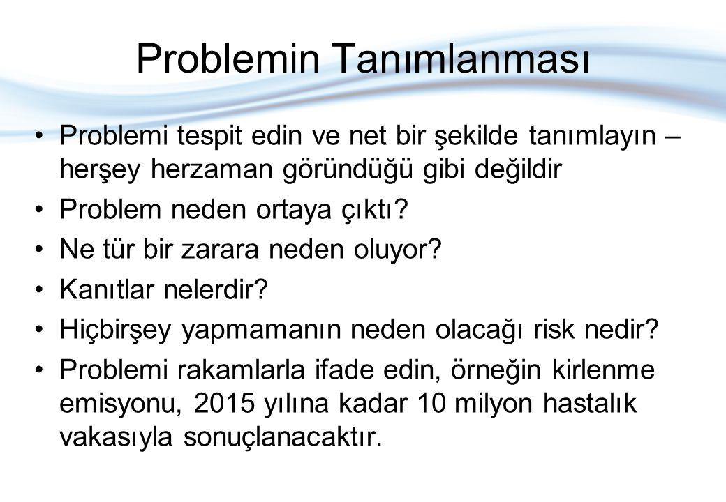 Problemin Tanımlanması Problemi tespit edin ve net bir şekilde tanımlayın – herşey herzaman göründüğü gibi değildir Problem neden ortaya çıktı? Ne tür