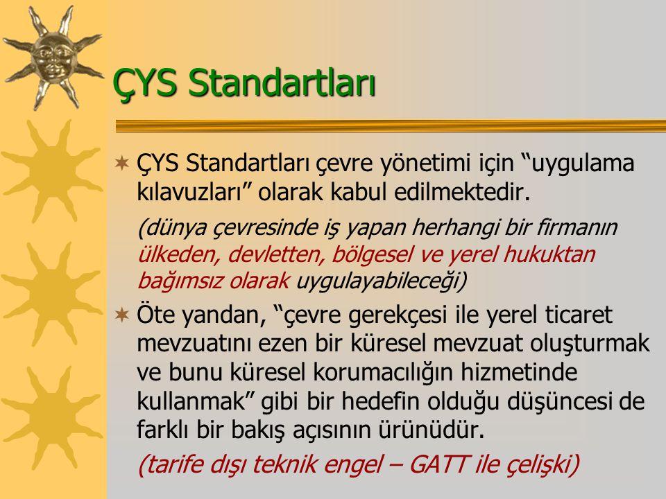 ÇYS Standartları  ÇYS Standartları çevre yönetimi için uygulama kılavuzları olarak kabul edilmektedir.
