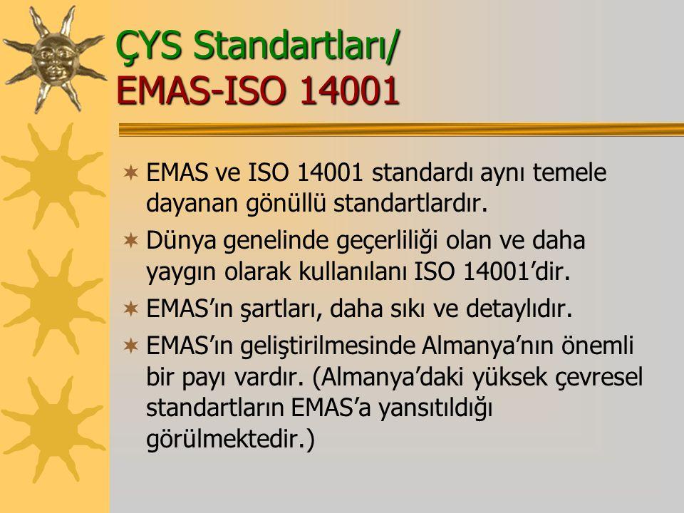 ÇYS Standartları/ EMAS-ISO 14001  EMAS ve ISO 14001 standardı aynı temele dayanan gönüllü standartlardır.