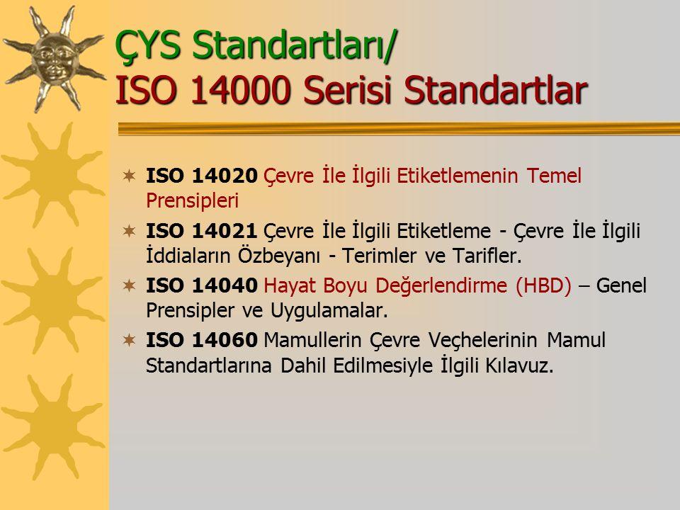 ÇYS Standartları/ ISO 14000 Serisi Standartlar  ISO 14020 Çevre İle İlgili Etiketlemenin Temel Prensipleri  ISO 14021 Çevre İle İlgili Etiketleme - Çevre İle İlgili İddiaların Özbeyanı - Terimler ve Tarifler.