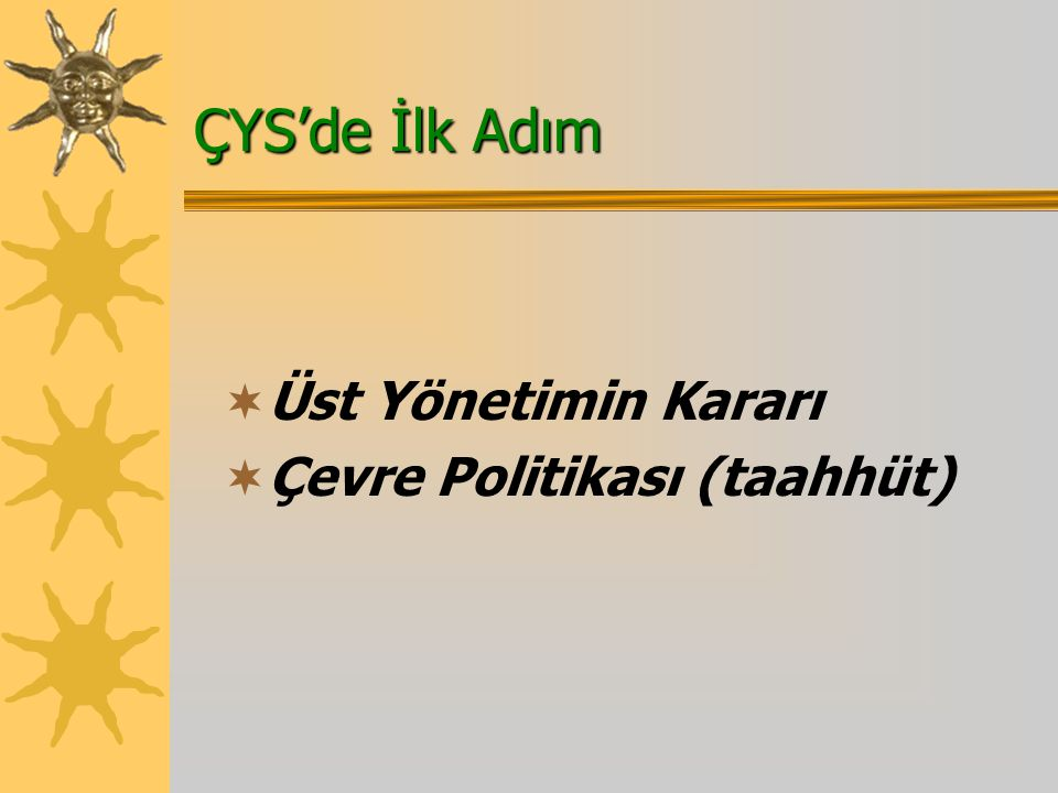 ÇYS'de İlk Adım  Üst Yönetimin Kararı  Çevre Politikası (taahhüt)