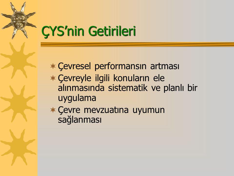 ÇYS'nin Getirileri  Çevresel performansın artması  Çevreyle ilgili konuların ele alınmasında sistematik ve planlı bir uygulama  Çevre mevzuatına uyumun sağlanması