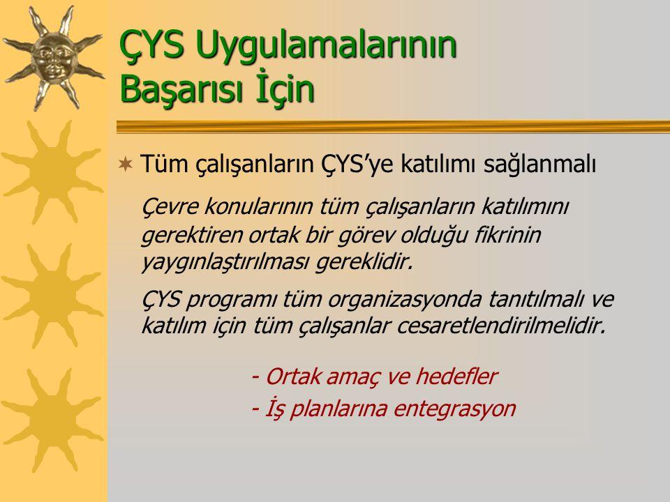 ÇYS Uygulamalarının Başarısı İçin  Tüm çalışanların ÇYS'ye katılımı sağlanmalı Çevre konularının tüm çalışanların katılımını gerektiren ortak bir görev olduğu fikrinin yaygınlaştırılması gereklidir.